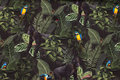 Lightweight sweatshirt fabric with gorillas and parrots in jungle
