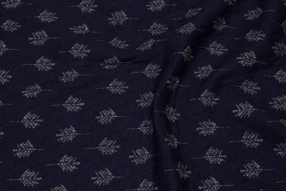 Jersey-quilt in navy with light leaves