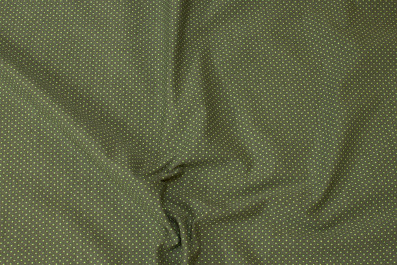 Mosgrøn cotton-jersey with light green mini-dots