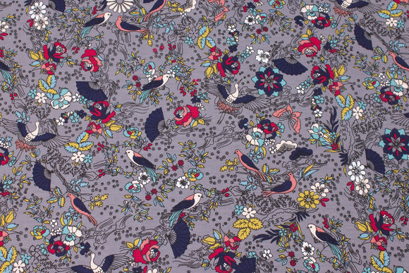 Grey cotton-jersey with birds and flowers