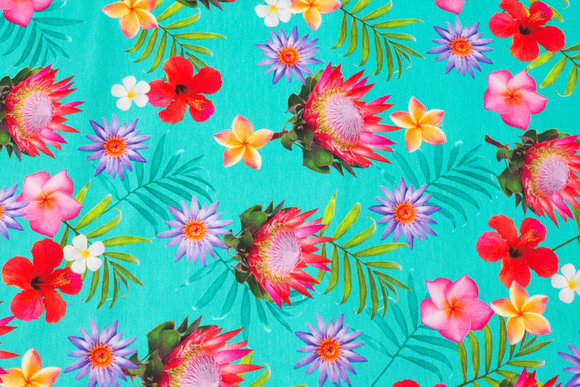 Greenish turqoise cotton-jersey with pink flowers