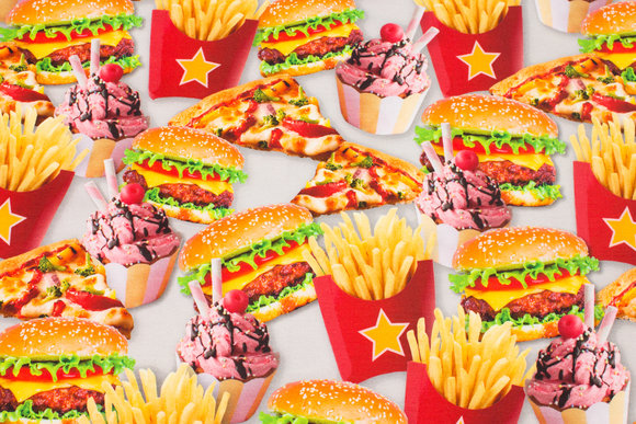 Fun cotton-jersey with burgers and french fries etc.
