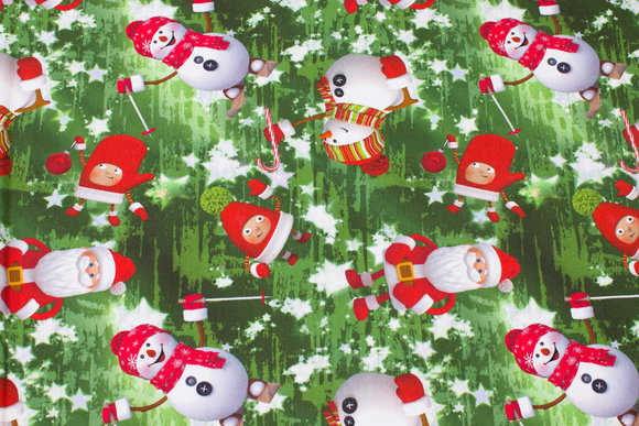 Jule cotton-jersey with snowmen and santas