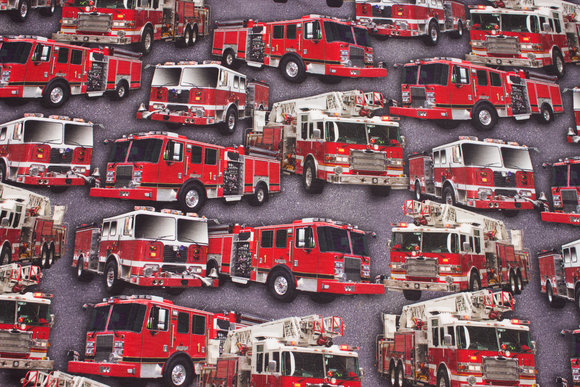 Grey cotton-jersey with beautiful red fire trucks