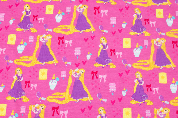 Pink cotton-jersey with Rapunzel