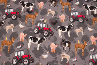 Grey cotton-jersey with cute farm life motifs