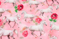 Light red cotton-jersey with white horses.