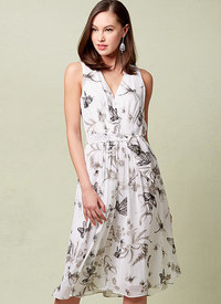 Vogue pattern: Lined V-Neck Dress with Front Pleats and Self-Belt, Anne Klein
