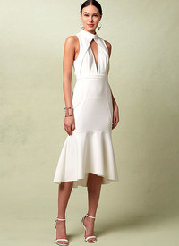 Vogue pattern: Lined Flounced Dress with Banded Neck and Deep-V Front, Rebecca Vallance