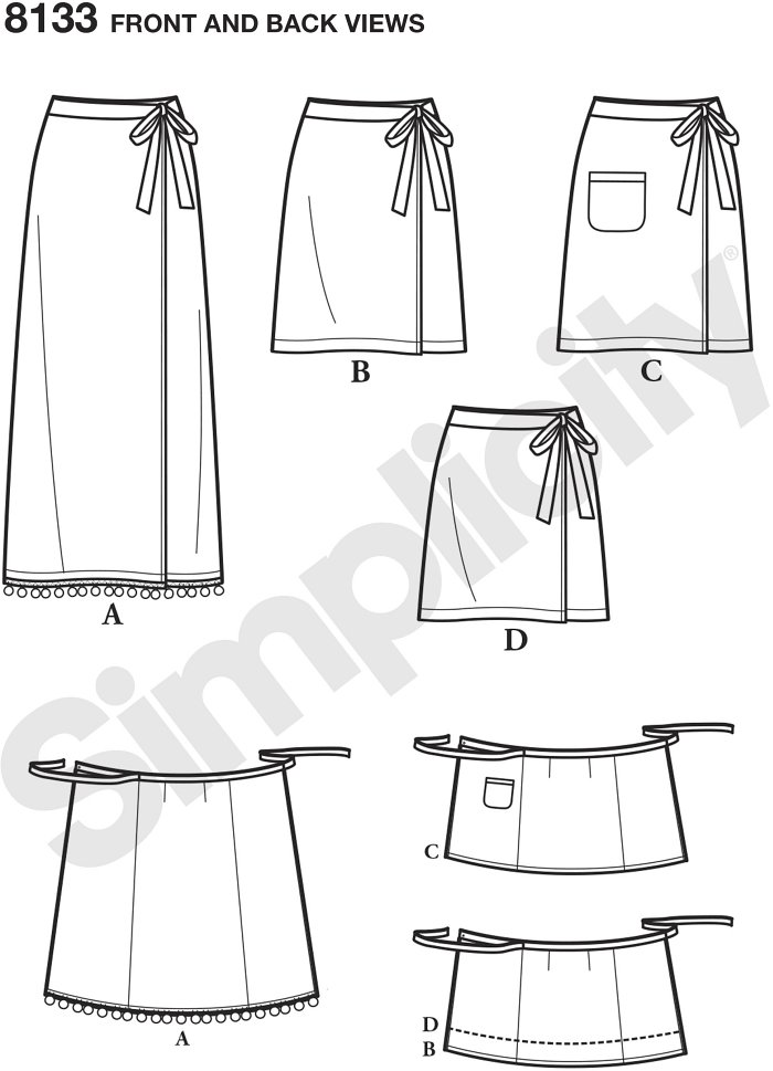 With this Learn to Sew skirt pattern for miss, you get specialized easy to follow instructions for first time sewers. Learn to cut a pattern, sew a shaped waistband with tie end, sew a patch pocket, and apply trim.