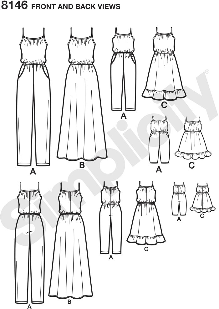 "These adorable pull on jumpsuits and dresses for miss, child, and 18"" dolls are a fun project to make together, or to give as a gift. Use coordinating fabrics for extra subtle matching look. Simplicity sewing pattern."