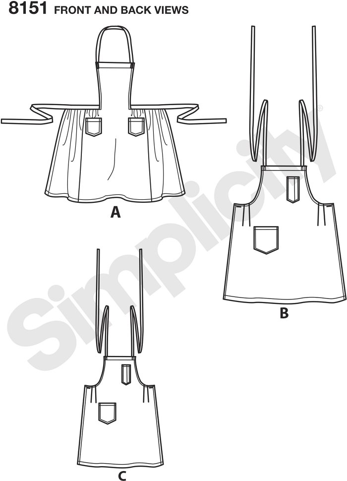 Make these great vintage 1940´s aprons for the whole family. Pattern includes apron with shaped bodice sized for miss (A), traditional apron for men (B) and boys or girls apron (C). Vintage Simplicity sewing pattern.