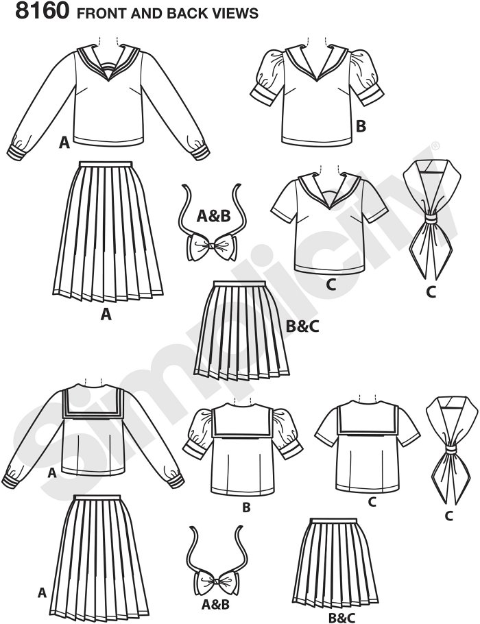 These great cosplay looks from Effy Sews Cosplay includes pleated skirts in two lengths, top with sailor collar and sleeve variations, and oversized bow and tie. Simplicity sewing pattern.