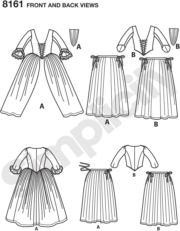 Misses´ 18th century highland costumes includes outfits in two styles: the first is a gown with stomacher and petticoat, and the second is a bodice with petticoat and stomacher.