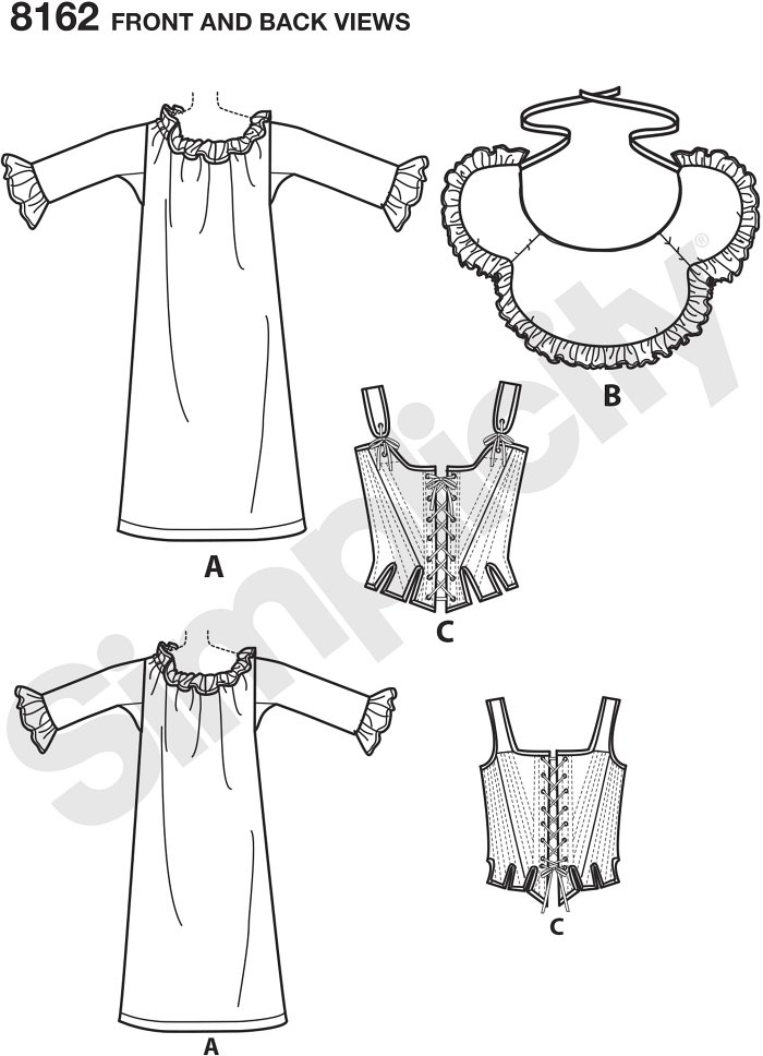 Get the appropriate undergarments for your historical highland costumes with this 18th century undergarments pattern. Pattern includes chemise, bum pad, and lined corset. American Duchess for Simplicity.