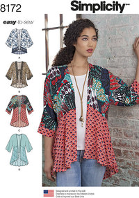 Misses Fashion Kimonos with Length, Fabric and Trim Variations
