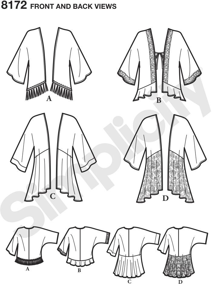 Kimono style jackets for miss in a variety of lengths and trim options: fringe, lace, ruffles or flounces. Use contrasting fabrics or by the yard trims to get the look you love. Simplicity sewing pattern.