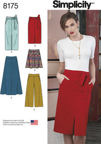 Simplicity 8175. Misses´ Slim and Flared Skirts, Cropped Trouser, and Tie Belt.