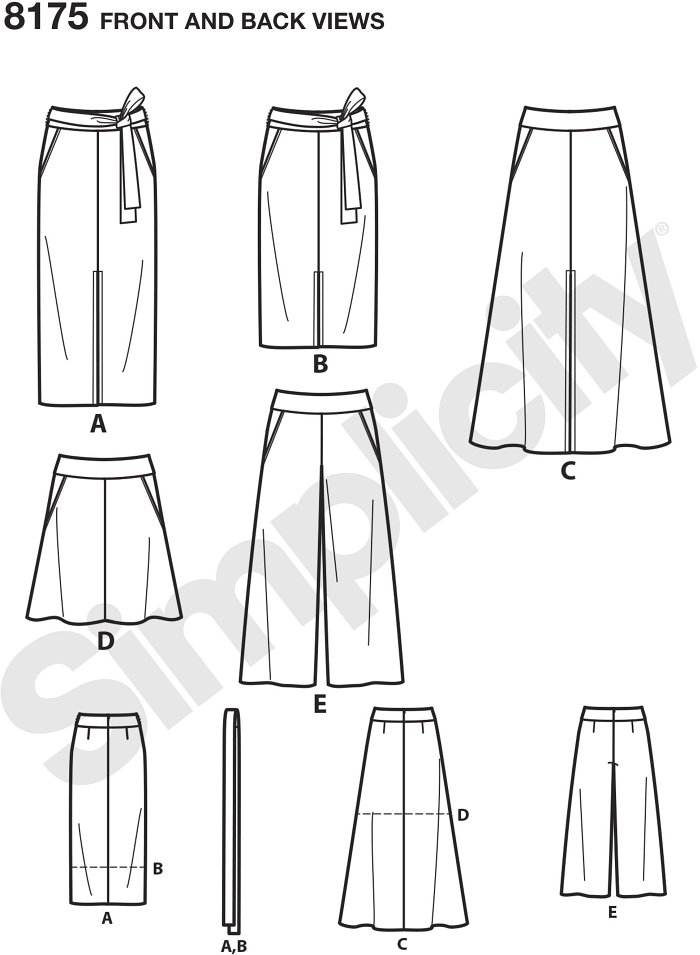 Misses slim and flared skirts each in two lengths and cropped Trouser with tie belt. Features include center front slits, flared mini plus yoke and pockets.