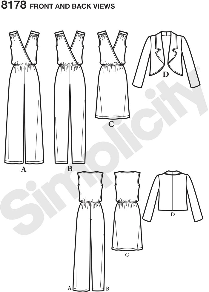 This jumpsuit pattern has cross-over bodice, elasticized waist and slim or wide legs for a chic, easy to wear look. Pattern also includes same cross-over style dress plus a jacket with notched collar. In K for Simplicity.