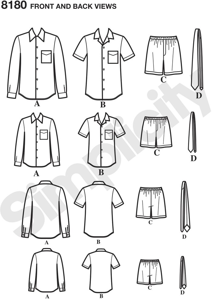 Get these essential pieces for boys and men in this 3 Hour sewing pattern including short or long sleeve collared shirt with chest pocket, boxer shorts with elastic waist, and tie. This pattern is great for coordinating or matching outfits.