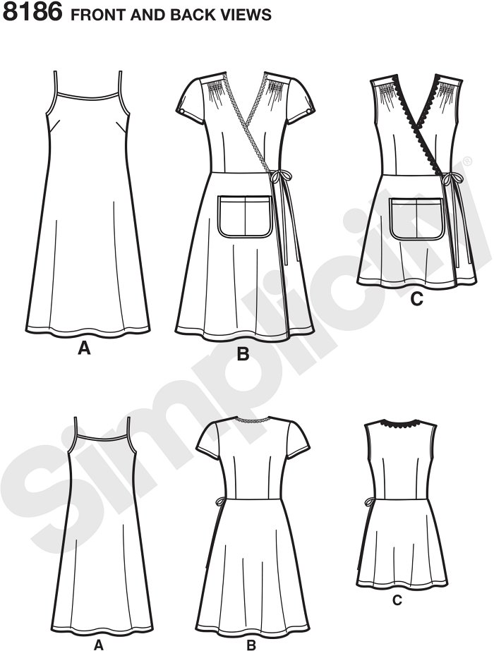 Dottie Angel frock pattern includes wrap dress knee length with cap sleeves or mini length sleeveless, both with front pocket, and  a slip dress that can be worn underneath or on its own. Simplicity sewing pattern.