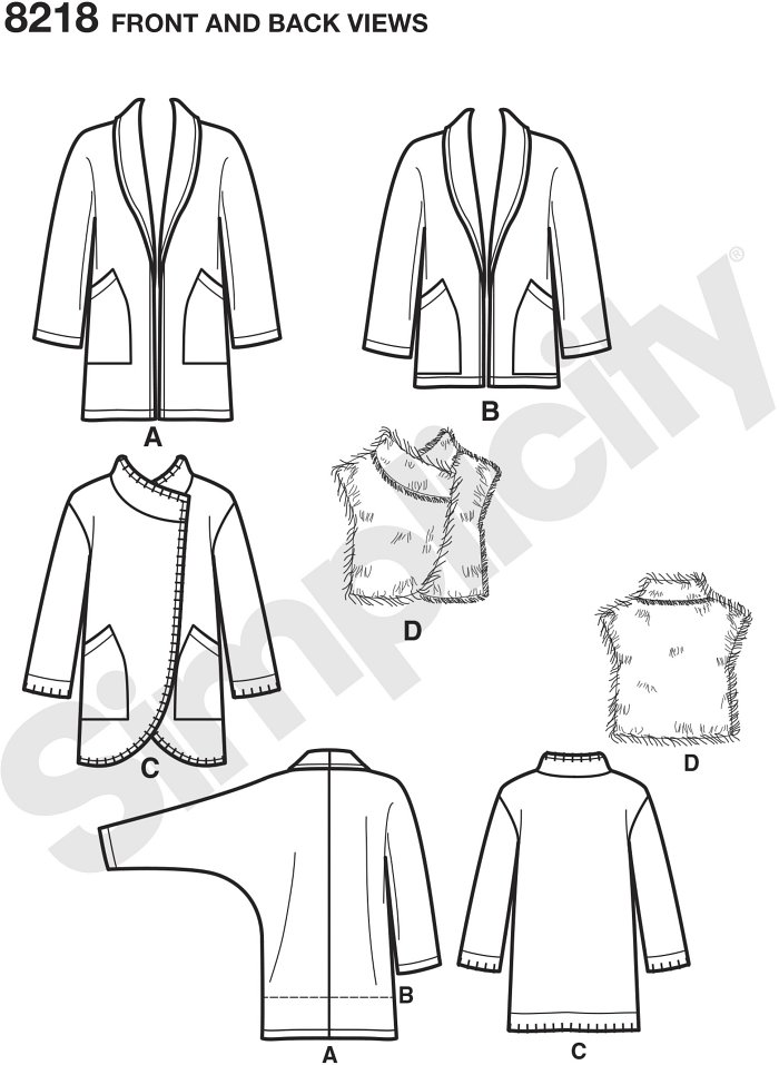 Misses´ Easy-to-Sew jackets with large patch pockets can be made mid thigh length or just below the hip with shawl collar, and mid thigh with round hemline, asymmetric closure, and blanket stitching. Pattern also includes asymmetric fur vest.