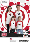 Simplicity 8223. 3 Child´s and Adults Knit Tops with Disney Appliques.