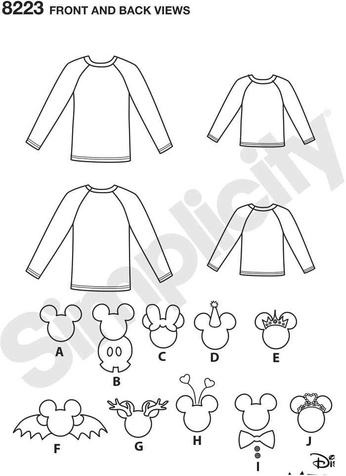 These tee shirts with Mickey and Minnie appliques are a must have for every trip to Disney World. Pattern includes raglan sleeve knit top for both adults and children, Appliques include Mickey Head with option of Mickey body, Minnie Mouse bow, birthday ha