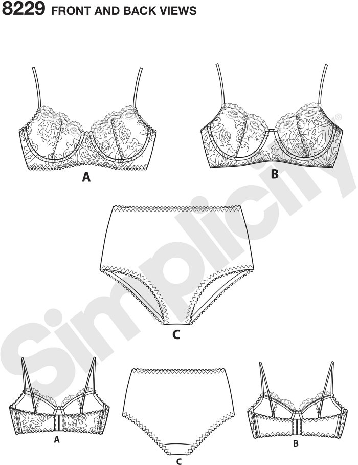 Misses´ lined underwire lace bras have adjustable straps, and can be made with option of lace, knit or spandex back band. Pattern also includes basic panties with scalloped lace trim. Bras sized 32A to 42DD, panties sized XS-XL. Instructions for determini