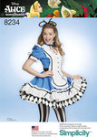 Simplicity 8234. 4 Misses´ Alice in Wonderland Cosplay Costume.