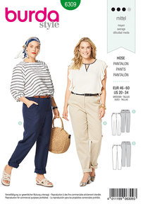 Back elastic pants. Burda 6309.