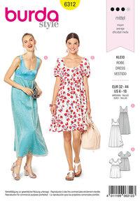 Ballet neckline dress. Burda 6312.
