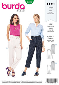 Highwaisted pants. Burda 6332.