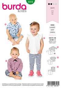 Baby top with bow tie. Burda 9318.