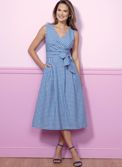 Pleated Wrap Dresses with Sash