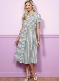 Petite Gathered, Blouson Dresses. Butterick 6450.