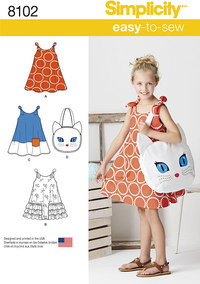 Child´s Easy-to-Sew Sundress and Kitty Tote. Simplicity 8102.