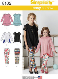 Child´s and Girls´ Knit Tunics and Leggings. Simplicity 8105.