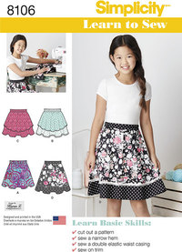 Learn To Sew Skirts for Girls and Girls Plus. Simplicity 8106.