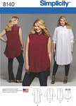 These shirts, exclusively in plus sizes, have front yoke, knee or tunic length with side slits, shirt tail or high low hemlines. View D features contrast lace yoke. Make it sleeveless or long sleeves with tabs.