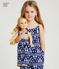 """These adorable pull on jumpsuits and dresses for miss, child, and 18"""" dolls are a fun project to make together, or to give as a gift. Use coordinating fabrics for extra subtle matching look. Simplicity sewing pattern."""