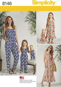 6 Matching outfits for Misses, Child and 18 inches Doll. Simplicity 8146.