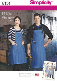 1 Vintage Aprons for Boys, Girls, Misses and Men. Simplicity 8151.
