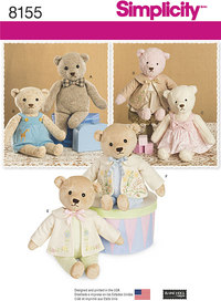 5 Stuffed Bears with Clothes. Simplicity 8155.