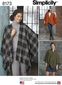 Misses´ Fleece Poncho Wraps. Simplicity 8173.