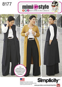 Mimi G Style Trouser, Coat or Vest, and Knit Top. Simplicity 8177.