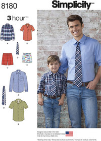 Boys´ and Men´s Shirt, Boxer Shorts and Tie. Simplicity 8180.