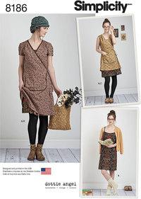 Misses´ Dottie Angel Frock: Wrap and Slip Dress. Simplicity 8186.
