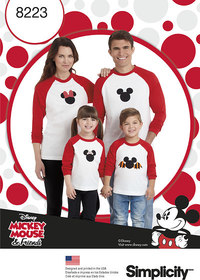 3 Child´s and Adults Knit Tops with Disney Appliques. Simplicity 8223.